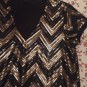 H&M Dresses - H&M Chevron Black Gold Sequin Cocktail Shift Dress